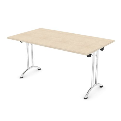 L&P FOLDING Rectangular Table 1400mm Chrome Maple