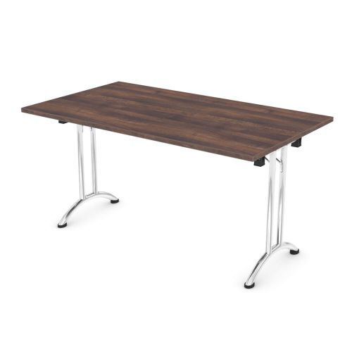 L&P FOLDING Rectangular Table 1400mm Chrome Walnut
