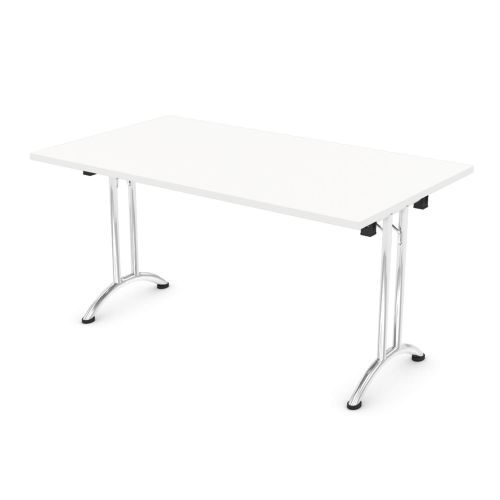 L&P FOLDING Rectangular Table 1400mm Chrome White