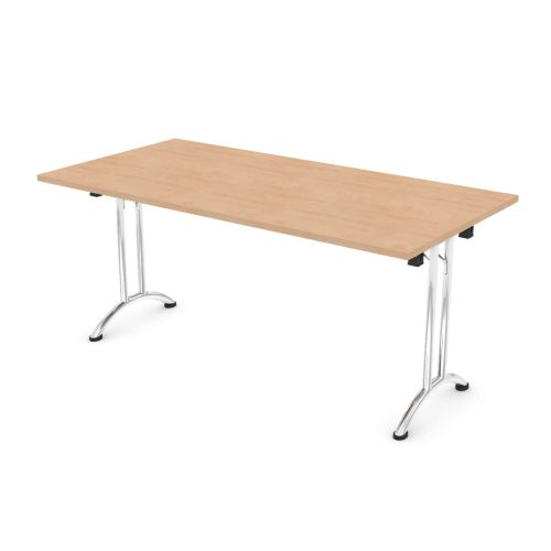 L&P FOLDING Rectangular Table 1600mm Chrome Beech