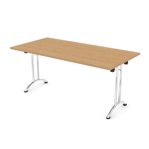 L&P FOLDING Rectangular Table 1600mm Chrome Light Oak