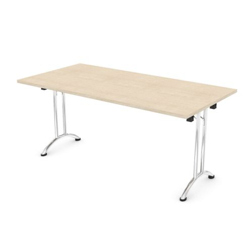 L&P FOLDING Rectangular Table 1600mm Chrome Maple