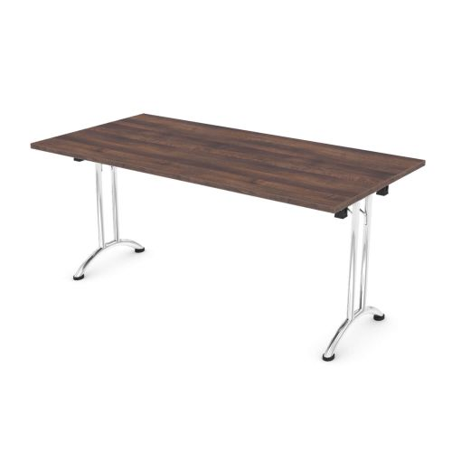 L&P FOLDING Rectangular Table 1600mm Chrome Walnut