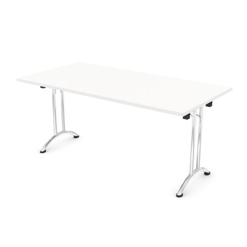 L&P FOLDING Rectangular Table 1600mm Chrome White