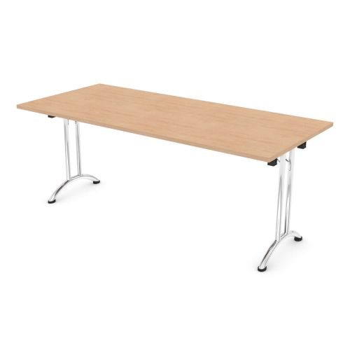 L&P FOLDING Rectangular Table 1800mm Chrome Beech