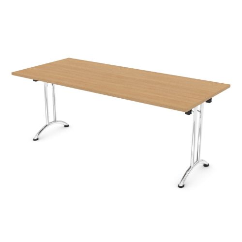 L&P FOLDING Rectangular Table 1800mm Chrome Light Oak