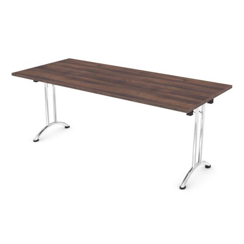 L&P FOLDING Rectangular Table 1800mm Chrome Walnut