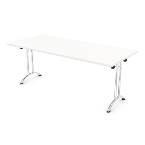 L&P FOLDING Rectangular Table 1800mm Chrome White