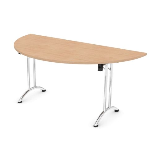 L&P FOLDING Semi-Circular Table 1600mm Chrome Beech