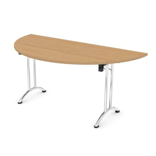 L&P FOLDING Semi-Circular Table 1600mm Chrome Light Oak