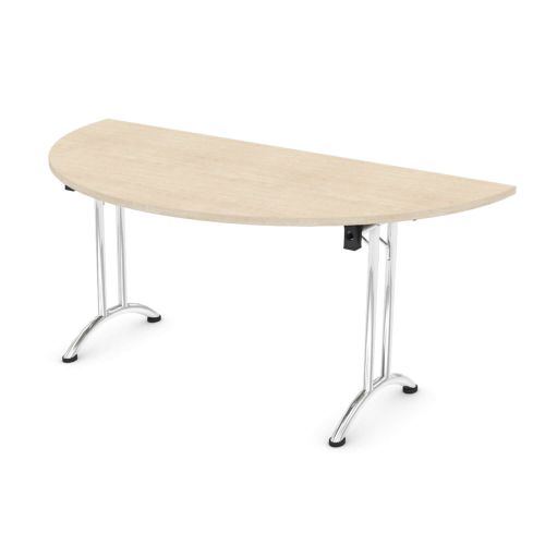 L&P FOLDING Semi-Circular Table 1600mm Chrome Maple
