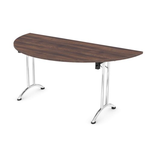 L&P FOLDING Semi-Circular Table 1600mm Chrome Walnut