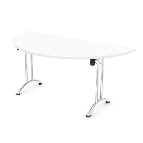 L&P FOLDING Semi-Circular Table 1600mm Chrome White