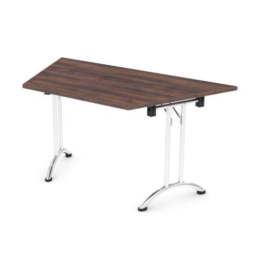 L&P FOLDING Trapezoidal Table 1412mm 22.5 Degree Chrome Walnut