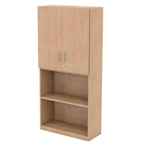 L&P INFINITY 1725H x 800W 3-Shelf Cupboard with 1-Shelf Upper Wooden Doors Beech