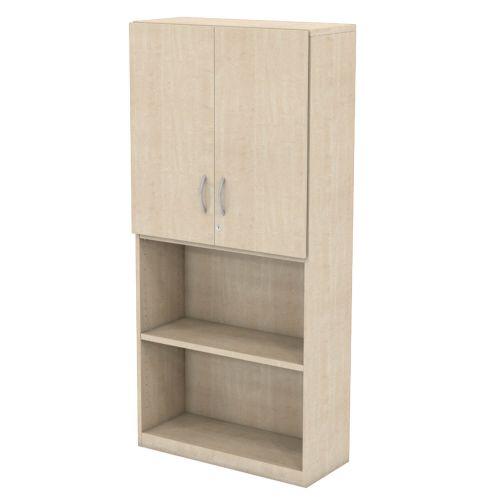 L&P INFINITY 1725H x 800W 3-Shelf Cupboard with 1-Shelf Upper Wooden Doors Maple