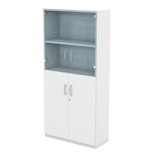 L&P INFINITY 1725H x 800W 3-Shelf Cupboard with 1-Shelf Lower Wooden Doors and 1-Shelf Clear Glass Doors White