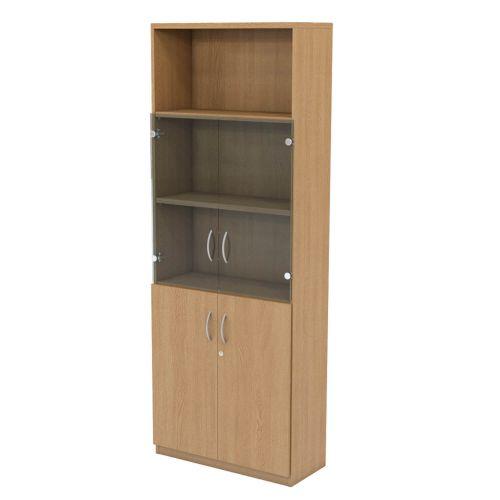 L&P INFINITY 2141H x 800W 4-Shelf Cupboard with 1-Shelf Lower Wooden Doors and 1-Shelf Clear Glass Doors Light Oak