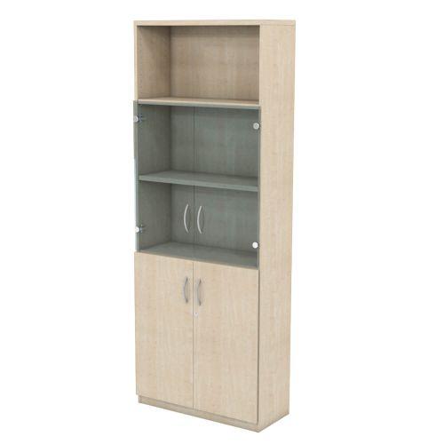 L&P INFINITY 2141H x 800W 4-Shelf Cupboard with 1-Shelf Lower Wooden Doors and 1-Shelf Clear Glass Doors Maple