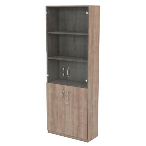 L&P INFINITY 2141H x 800W 4-Shelf Cupboard with 1-Shelf Lower Wooden Doors and 2-Shelf Clear Glass Doors Birch