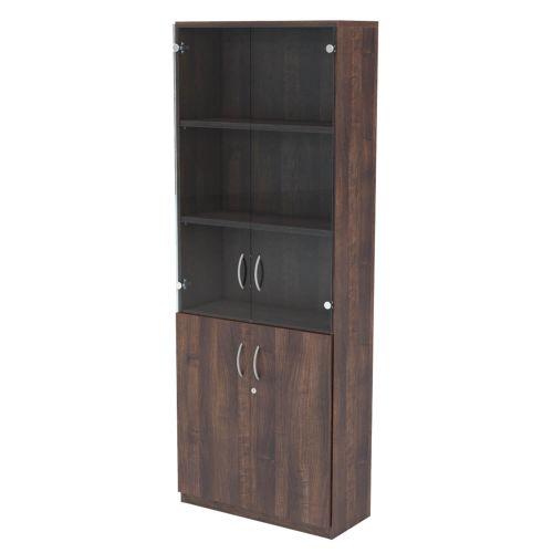 L&P INFINITY 2141H x 800W 4-Shelf Cupboard with 1-Shelf Lower Wooden Doors and 2-Shelf Clear Glass Doors Walnut