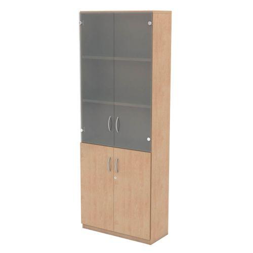 L&P INFINITY 2141H x 800W 4-Shelf Cupboard with 1-Shelf Lower Wooden Doors and 2-Shelf Opaque Glass Doors Beech