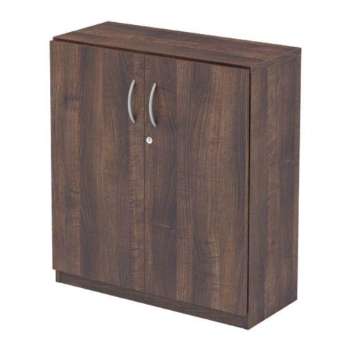 L&P INFINITY 893H x 800W 1-Shelf Cupboard with Full Wooden Doors Walnut