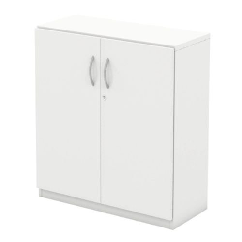 L&P INFINITY 893H x 800W 1-Shelf Cupboard with Full Wooden Doors White