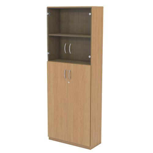 L&P INFINITY 2141H x 800W 4-Shelf Cupboard with 2-Shelf Lower Wooden Doors and 1-Shelf Clear Glass Doors Light Oak