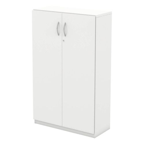 L&P INFINITY 1309H x 800W 2-Shelf Cupboard with Full Wooden Doors White
