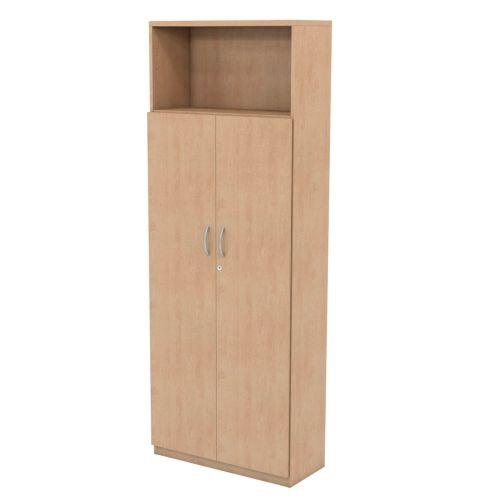 L&P INFINITY 2141H x 800W 4-Shelf Cupboard with 3-Shelf Wooden Doors Beech