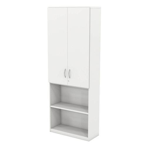 L&P INFINITY 2141H x 800W 4-Shelf Cupboard with 2-Shelf Upper Wooden Doors White