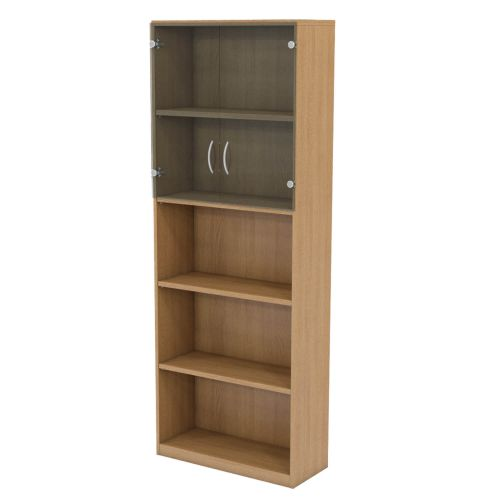 L&P INFINITY 2141H x 800W 4-Shelf Cupboard with 1-Shelf Clear Glass Doors Light Oak