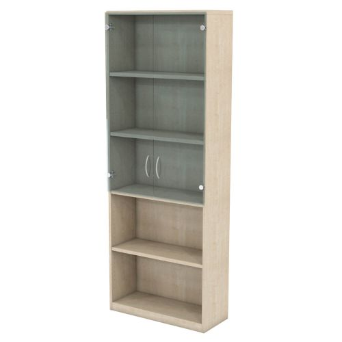 L&P INFINITY 2141H x 800W 4-Shelf Cupboard with 2-Shelf Clear Glass Doors Maple