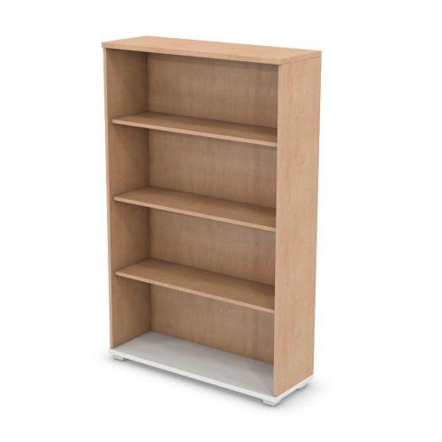 L&P SIGNATURE Bookcase 1600H x 1000W Three Shelf White Base/Beech Finish