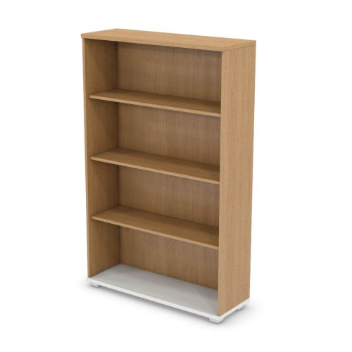 L&P SIGNATURE Bookcase 1600H x 1000W Three Shelf White Base/Light Oak Finish