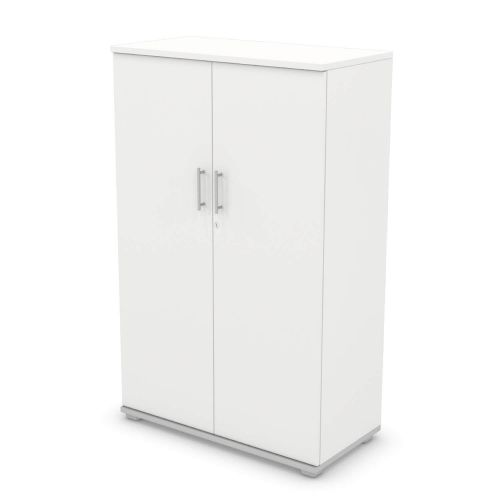 L&P SIGNATURE Cupboard 1600H x 1000W Silver Base/White Finish