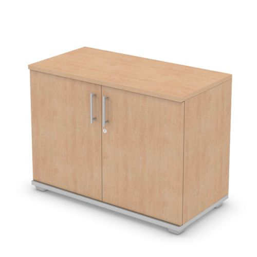 L&P SIGNATURE Cupboard 740H x 1000W Silver Base/Beech Finish