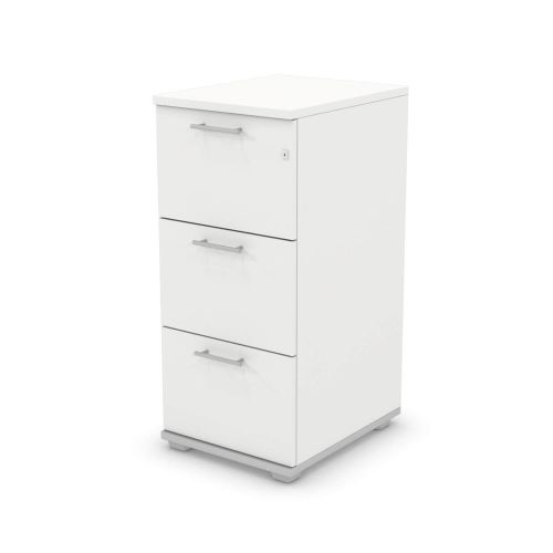 L&P SIGNATURE Filing Cabinet Three Drawer 1070H Silver Base/White Finish