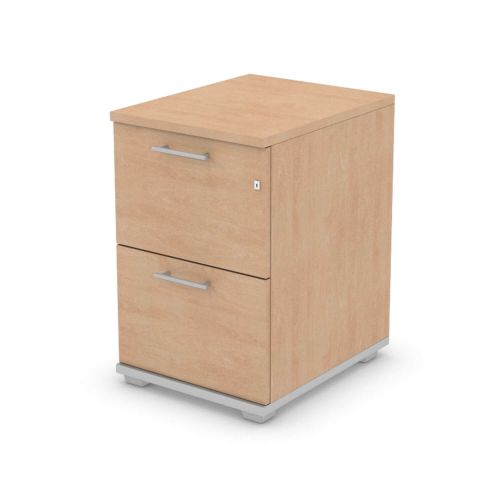 L&P SIGNATURE Filing Cabinet Two Drawer 740H Silver Base/Beech Finish