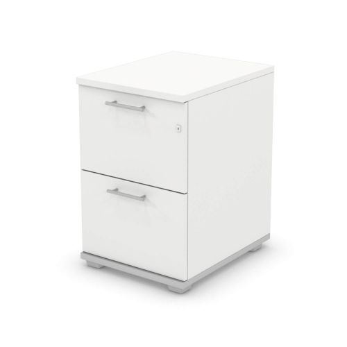 L&P SIGNATURE Filing Cabinet Two Drawer 740H Silver Base/White Finish
