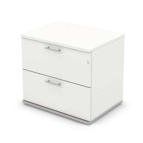 L&P SIGNATURE Side Filer Two Drawer 725H Silver Base/White Finish