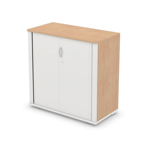 L&P SIGNATURE Tambour 1000H x 1000W White Base/Beech Finish