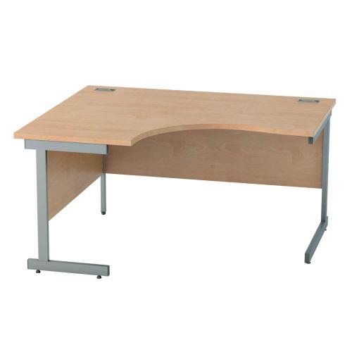 L&P SATELLITE Left Hand Crescent Cantilever Desk 1400mm Grey Beech