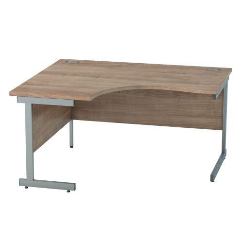 L&P SATELLITE Left Hand Crescent Cantilever Desk 1400mm Grey Birch
