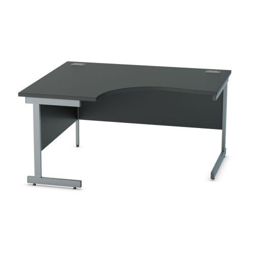 L&P SATELLITE Left Hand Crescent Cantilever Desk 1400mm Grey Black