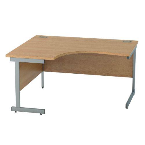 L&P SATELLITE Left Hand Crescent Cantilever Desk 1400mm Grey Light Oak