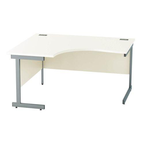 L&P SATELLITE Left Hand Crescent Cantilever Desk 1400mm Grey White