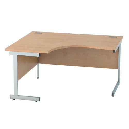 L&P SATELLITE Left Hand Crescent Cantilever Desk 1400mm Silver Beech