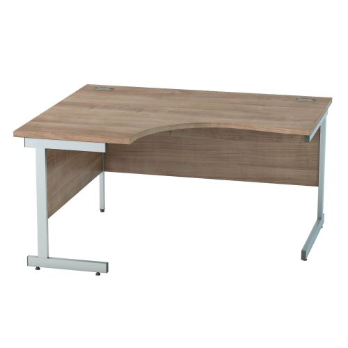 L&P SATELLITE Left Hand Crescent Cantilever Desk 1400mm Silver Birch